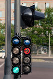 Bicycle traffic lights red and green in the city Royalty Free Stock Photos