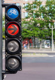 Bicycle traffic lights with red light and arrow Stock Photography