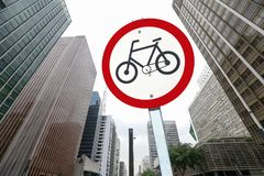 Bicycle traffic permission board between buildings in perspectiv. City concept : bicycle traffic permission board between buildings in perspective Royalty Free Stock Photography