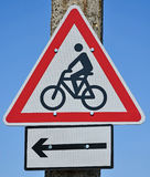 Bicycle traffic road sign. On a pole Royalty Free Stock Images