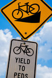 Bicycle traffic signs for steep downhill grade and yield to peds Royalty Free Stock Photography