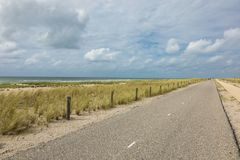 Bicycle trail in Holland. Nobody. Bicycle trail immersed in the nature of the Netherlands. Nobody inside Stock Image