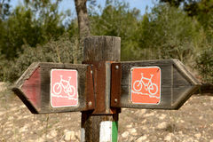 Bicycle  trail marker Stock Photos