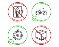 Bicycle, Travel compass and Elevator icons set. Delivery box sign. Vector. Do or Stop. Bicycle, Travel compass and Elevator icons simple set. Delivery box sign vector illustration