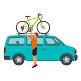Bicycle travel. Minivan Royalty Free Stock Photography
