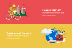 Bicycle Travel Mountain Tourism, Around World  Web Banner Stock Images