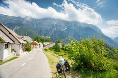 Bicycle travel in Slovenia. Mountains stock image