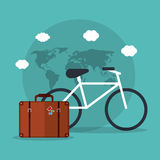 Bicycle travel suitcase world vacation Stock Photography