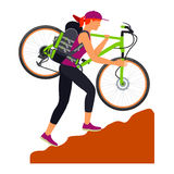 Bicycle travel. Woman climbs uphill. Woman climbs uphill and carries his bike on his shoulder. Traveling. Vector flat Illustration. Web graphics, banners vector illustration
