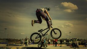 Bicycle tricks in skate park  Royalty Free Stock Photos