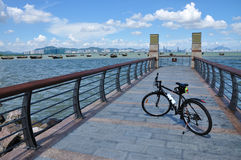 Bicycle trip. Riding a bicycle around the coast Royalty Free Stock Photography