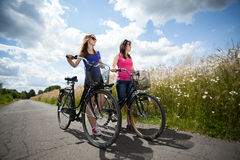 Bicycle trip during sunny day Royalty Free Stock Image
