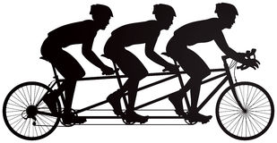 Bicycle triples racers vector silhouette Royalty Free Stock Photo
