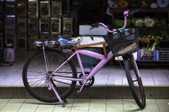 Bicycle two wheeler low speed transport around town pictured in Pulau Ketam Selangor Malaysia royalty free stock images