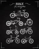 Bicycle types set on blackboard Royalty Free Stock Image