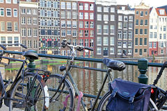 Bicycle and typical architecture in Amsterdam, Netherlands Royalty Free Stock Images