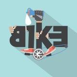 Bicycle Typography Design stock illustration