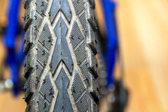 Bicycle tyre. Detail of bicycle wheel close up Stock Photo