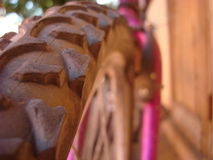 Close up of mountain bicycle wheel tyre Stock Photography