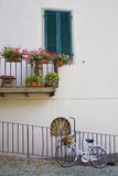 Bicycle under the balcony Royalty Free Stock Photography