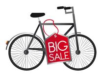 Bicycle vector. Black bicycle with red tag big sale over white background. vector Stock Photo