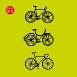 Bicycle vector icons set on green background Stock Photo