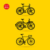 Bicycle vector icons set on yellow background Royalty Free Stock Images