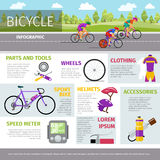 Bicycle vector infographic template in flat style Stock Image