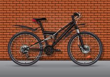 Bicycle vector realistic illustration. Black metallic bike half-face with many multiple details standing on asphalt against a bric. Bicycle vector realistic Royalty Free Stock Photo