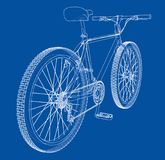 Bicycle. Wire-frame style. Vector. Bicycle. Vector rendering of 3d. Wire-frame style. The layers of visible and invisible lines are separated Royalty Free Stock Photography