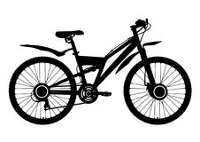 Bicycle vector silhouette, icon, outline drawing. Black contour bike half-face with many multiple details isolated on white backgr. Bicycle vector silhouette Stock Photography