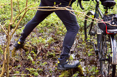 Bicycle, veloplasty, caminhada, floresta, mola, homem, para cruzar o rio, rio, log, pântano Fotos de Stock