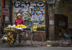 Bicycle Vendor Sells Fruit in Old Quarter Hanoi Royalty Free Stock Photo