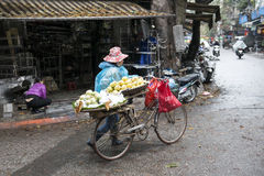 Bicycle with vietnamese lady. Hanoi, Vietnam. Hanoi street with Vietnamese lady transporting foods by bicycle lady. Hanoi, Vietnam royalty free stock image