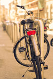 Bicycle. View of old bicycle parked in the street Royalty Free Stock Photography