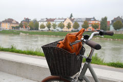 A bicycle on a view of a park, a river and mountains. Stock Images