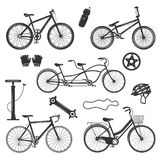 Bicycle Vintage Elements Set. Bicycle vintage elements collection of isolated silhouette images with different bike models spare parts and accessories vector vector illustration