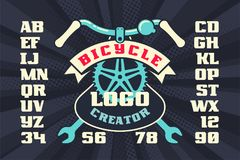 Bicycle vintage logo creator with parts and ribbon. Retro vector illustration royalty free illustration