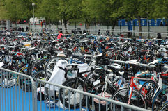 Bicycle waiting at Poznan Triathlon Royalty Free Stock Photos