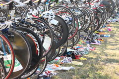 Bicycle waiting at triathlon Stock Image