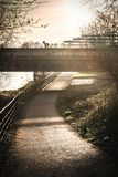 Bicycle and walking path in park Glasgow royalty free stock images