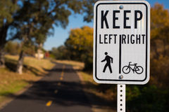 Bicycle and Walking Path Sign Stock Image