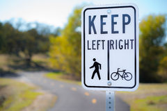 Bicycle and Walking Path Sign Stock Photos