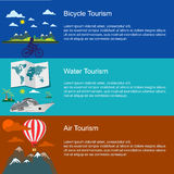 Bicycle, water, air tourism concepts in flat style for web Royalty Free Stock Photos