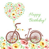 Bicycle on watercolor background. Birthday card with bike and on watercolor hand drawn bouquet in the form of heart. Vector lovely elements Royalty Free Stock Photography