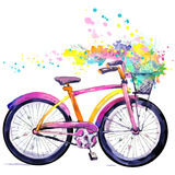 Bicycle. Watercolor bicycle and flower background. Hello Spring watercolor text.