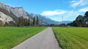 Bicycle way along green fields in Sargans, Switzerland. Bicycle way along green fields Stock Image