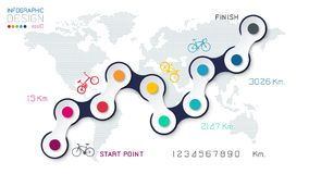 Bicycle way with business icon infographics royalty free stock photos
