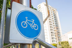 Bicycle way in the city image. Day time Royalty Free Stock Photos