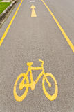 Bicycle way sign. On the road Stock Photos